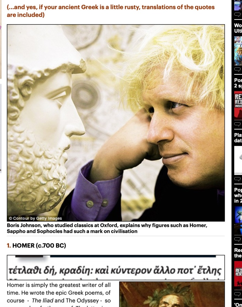 Boris Johnson admiring bust of Pericles