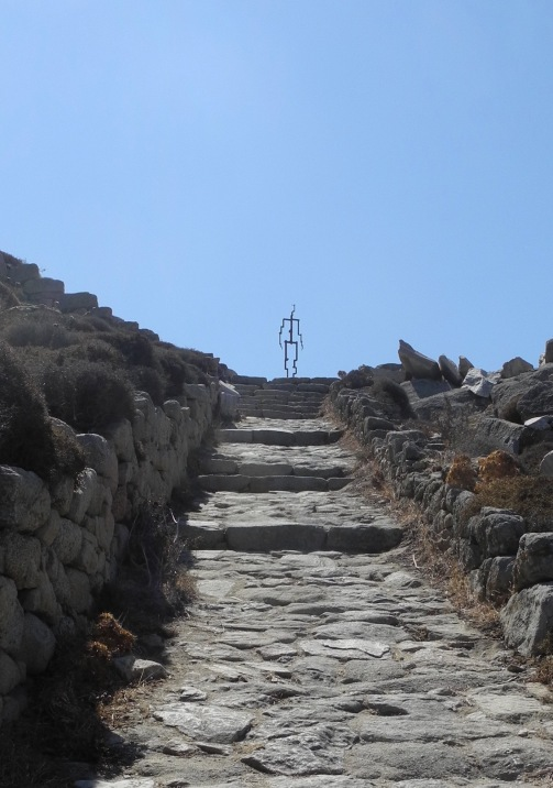 Signal II (2018), site-specific installation at the top of the ancient path ascending Mt Kynthos, Delos