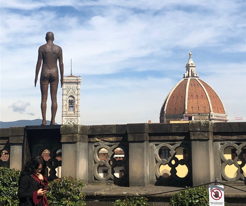 Event Horizon (2012), fibreglass sculpture installed on the parapet of the Uffizi galleries, overlooking Florence towards the campanile and dome of the Duomo.