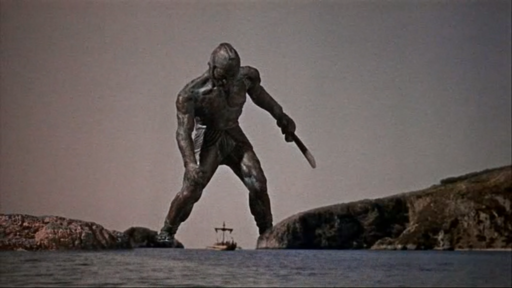 The bronze man Talos confronts Jason and the Argo, from Jason and the Argonauts.